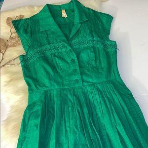 Anthropologie Mauve Christmas Green Dress
